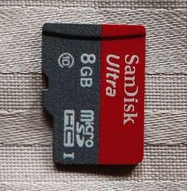 Two Sandisk 8GB Class 10/4 MicroSDHC Memory Card