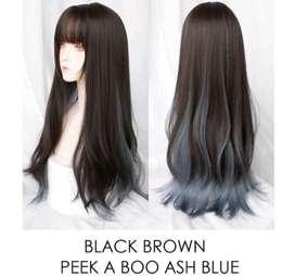 Wig Black Ash Blue 60 cm