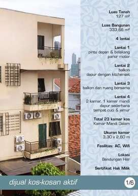 Dijual kosan area Benhil kamar aktif,jumlah kamar 23, sewa 800-1.2jt