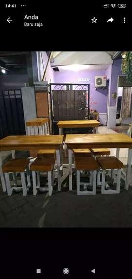 Meja Kursi Warkop Bahan dari Kayu Jati Belanda