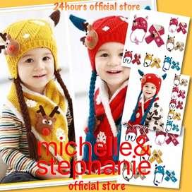 M&S ICTK11-Caps Scarf Girls Cap Autumn Winter Warm Knit Children Caps