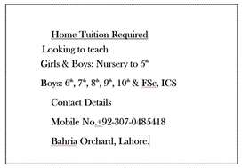 Home Tuition Required