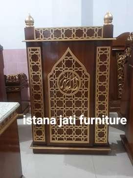 Mimbar masjid minimalis ukir motif arabian style