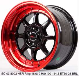 Velg Dewata SC-03 8003 HSR R16X8/9 H8X100-114,3 ET30/25 BK/RED