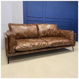 Sofa Ruang Keluarga Loveseat Oscara Brown
