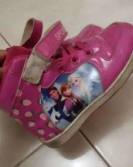 Sepatu boot pink frozen anak perempuan anak cewek lucu bagus murah