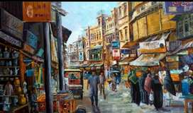 Old city Lahore painting