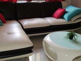 5seater L shaped off white leather sofa , no table only sofa