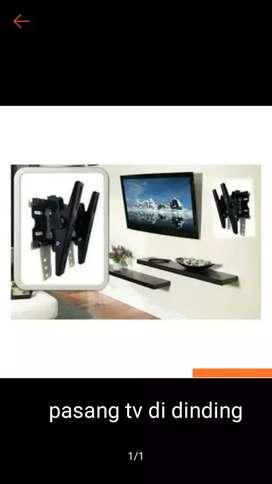 Pasang tv didinding bracket buat tv lcd LED  LG Sharp Samsung polytron