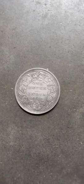 Queen Victoria silver coin Indian rupee 1862