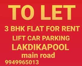 3 bhk flat for rent Lakdikapool main road