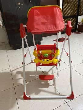 It has seat belt for baby safety and music toy for enjoyment