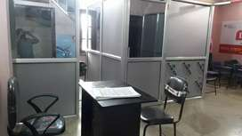 Aluminium partitions for office use.