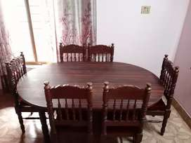 Wooden Dining table with 6 chair's