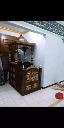 Mimbar masjid kubah podium jati