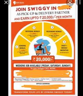 @HIRING FOR SWIGGY FOOD DELIVERY BOYS AT Madhapur