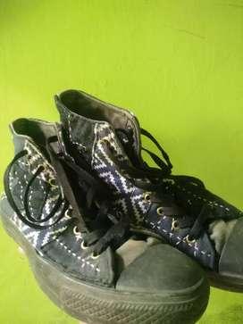 Sepatu converse 70s black custom sashiko
