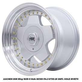 hsr velg racing R16x8/9 pcd 8x100-1143 smf/gold