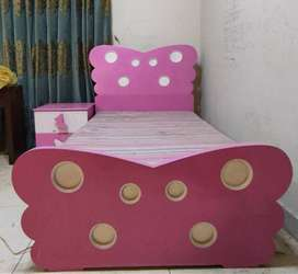 Girls Butterfly shaped bed with side table (without mattress)
