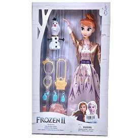 Frozen II Anna 11 Inch Doll with Olaf, Bag, Hairpin, Necklace, Hat, Co