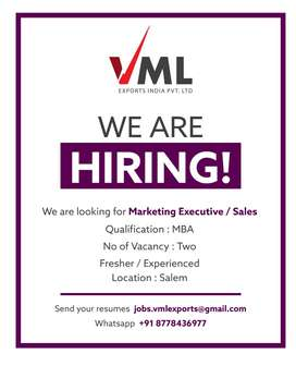 Marketing Manager, Regional Sales Manager - VML EXPORTS