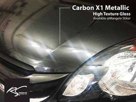 Carbon X1 Metallic hiTexture Stiker Kap Mesin Mobil Terbaik di Mangele