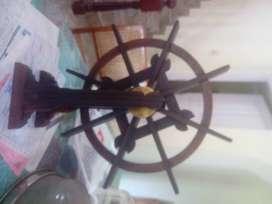 Rose wood  chakram (wood wheel) with brass fittings.