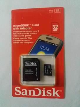 32GB SanDisk Memory Card with Adapter, 5 Yrs warranty