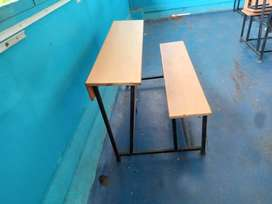Classroom tables and benches..