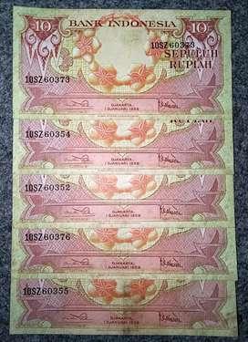 Borongan 5 lembar Uang kuno seri BUNGA th 1959