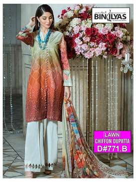 Lawn 3pc chicken kari embroidery collection