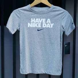 ORIGINAL Nike Swoosh Kaos Anak Shirt Kid Kids Hitam Grey White