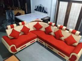 Red combination L shape sofa set