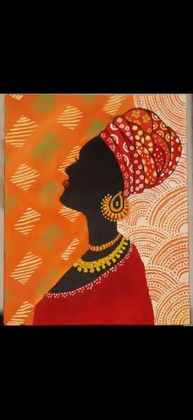Canvas poster colour handmade painting of african women