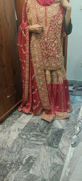 Red golden bridal dress