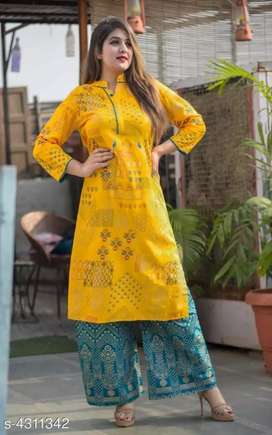 Women's Rayon Printed Kurta Set with Palazzos