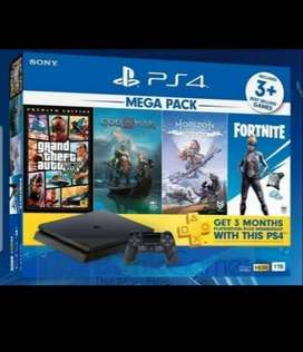 PS4 SLIM MEGAPACK BARU 1TB +4 GAME ORIGINAL