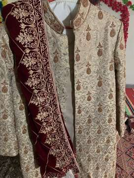 Occasion branded sharwani with velvat shawl