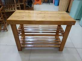 Bamboo shoe rack with stool