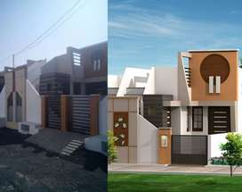 2bhk house in 100 yard plot with pachayat water supplay