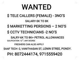 Wanted female telecaller in SAAf tech at Pondicherry