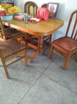 One dining table with 6 chairs