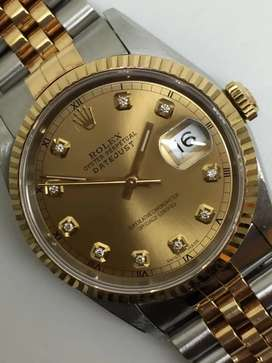 Rolex Men 18KSS diamonds Champagne Roman