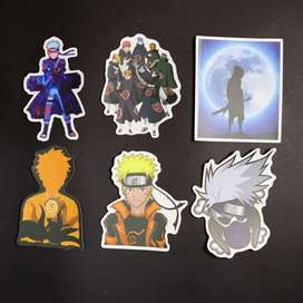 Anime NARUTO 6 pack stickers decals stick on mobile , tablet , laptop