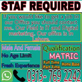 Online marketing job offer Full time part time home base in Lahore...