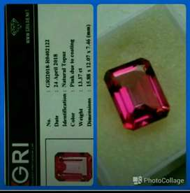 Pink Topaz hexagonal  cutting  13.35 carats  + memo   GRI