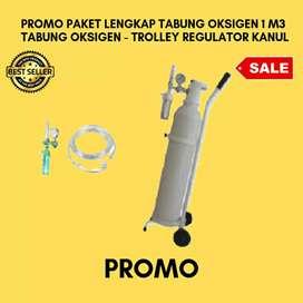 PROMO TABUNG OKSIGEN / OXYGEN 1M3 LENGKAP, (TABUNG OKSIGEN 1M3, TROLY,