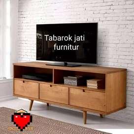 Meja tv retro moderen & elegan, P.150cm, bahan kayu jati tua asli