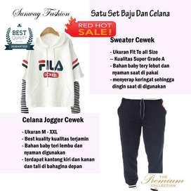AM00409 Celana Setelan Satu set Sweater cewek dan celana joger
