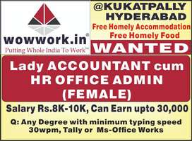 Lady Accountant Office Admin with 30wpm typing Telugu Hindi English